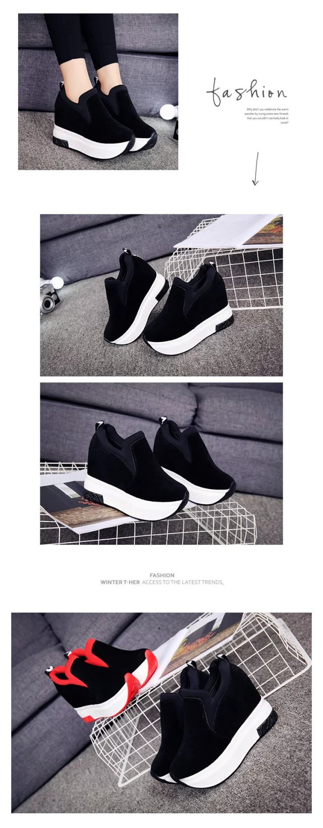 XEK 2018 Women Increased Shoes Women Fashion Platform Loafers Printed Casual Shoes Woman Wedges Shoes Breathable ZLL300 10