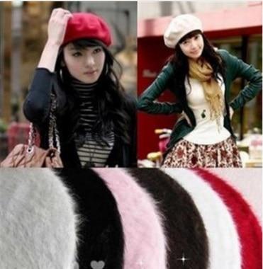 EMS OR DHL 2017 Korean New Pure Rabbit Hair Warm Hat Beret Hot Sale Headband Ladies Fashion Elegant Cap Women Hair Accessories