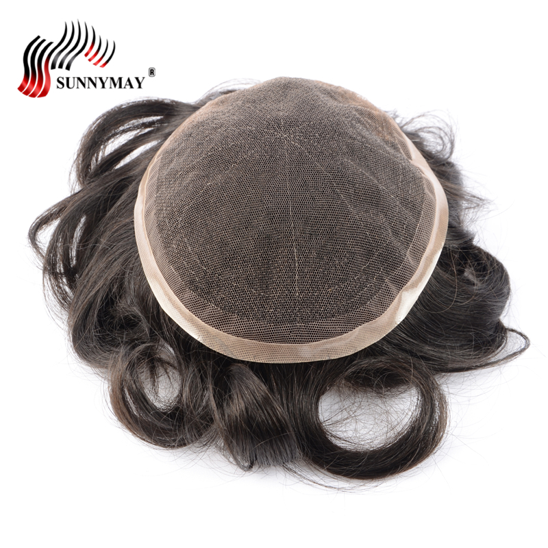 Sunnymay Toupee men 8x10 french lace or Swiss lace , 100% indian remy hair replacement , ...