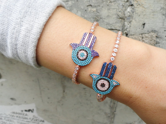 цены fatima hand purple blue turquoises Stone Bracelets Hamsa Hand Bangle Charm Yoga Turkish jewelry tennis Bracelets With CZ