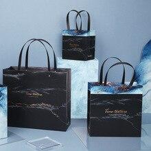 1pc mármol exquisita bolsa de regalo de boda bolsa de regalo para caramelos Caja de Regalo de Papel Kraft de regalo de lujo de los casos con asas fiesta favor