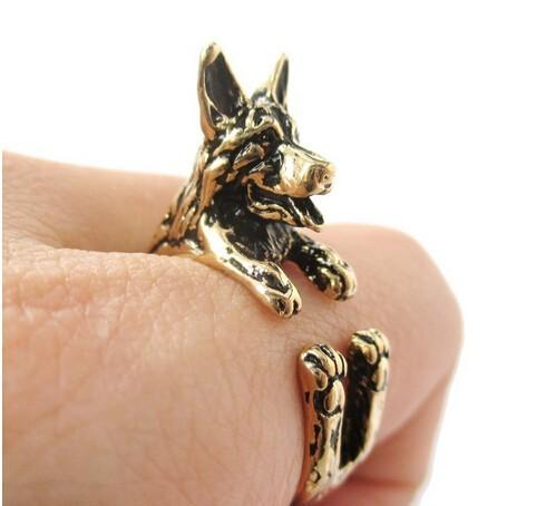 Draft – 1pcs retro punk German Shepherd Ring free size hippie animal  German Shepherd dog  Ring summer jewelry for pet lovers