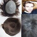 Piel fina estupenda 0.06mm pu v bucle titular natural pu piel fina peluquín hombres/los hombres de reemplazo de cabello/hombres postizos/hombres peluca