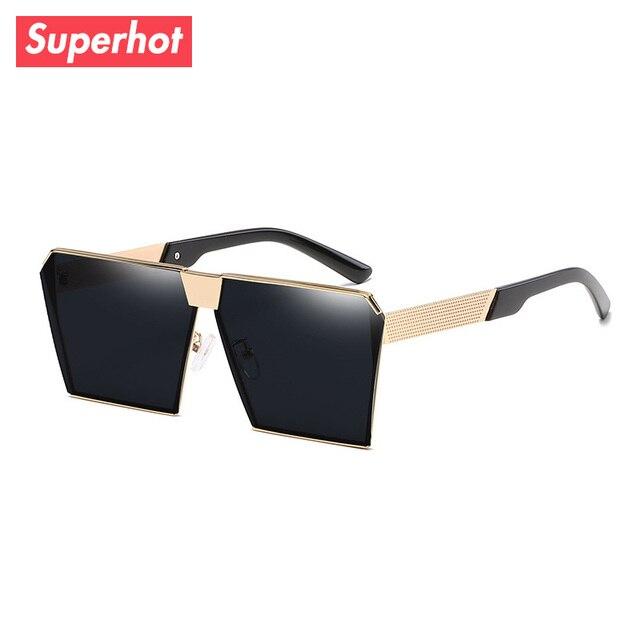 479e9c952431b Superhot Eyewear - Metal Square Frame Sunglasses Flat Top Sun glasses  Shades Modern Blue Silver Red Mirrored Lenses UV400 200101