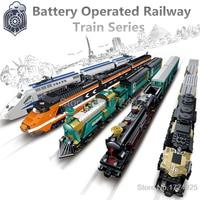 Battery Operated Railway Train With Tracks Building Blocks Set Model Bricks Kids Toys For Children Gift