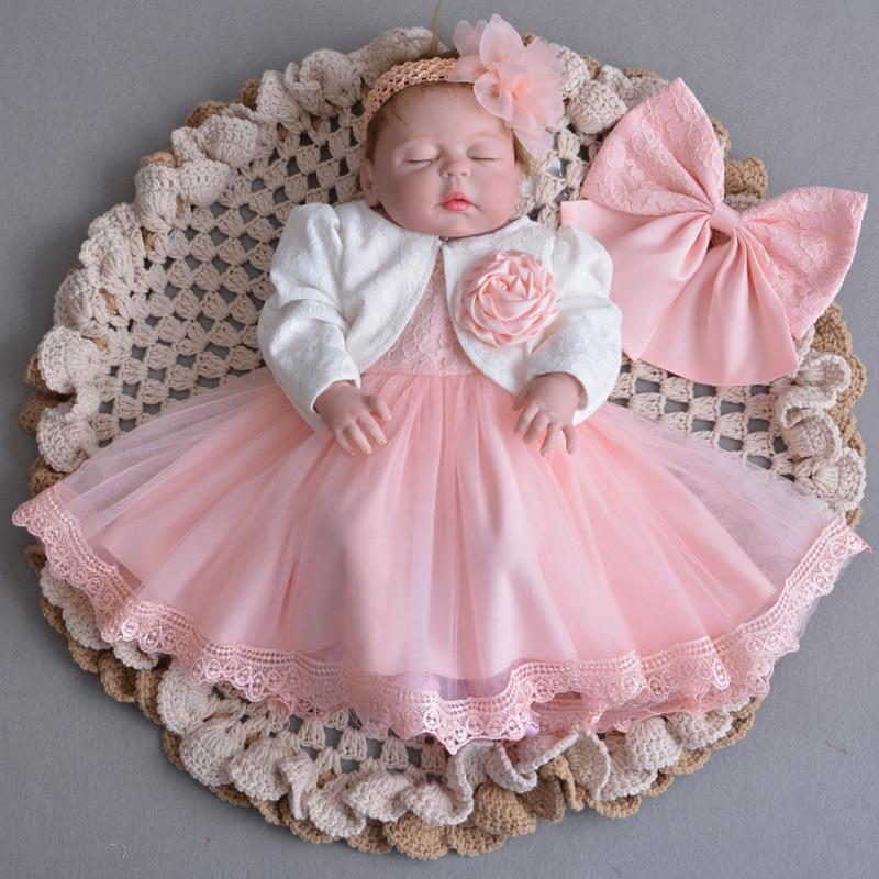 Robe de baptême rose nouveau-né bébé fille Tulle robe de baptême avec boléro bébé robe de demoiselle d'honneur tenues de fille de fleur A015 Vestidos