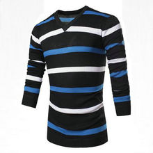 Mens Pullover Striped Sweater Brand Clothing Tops Fashion Multicolor Mosaic V-Neck Pullover Sweater Knitted Coat Pull Homme MT07