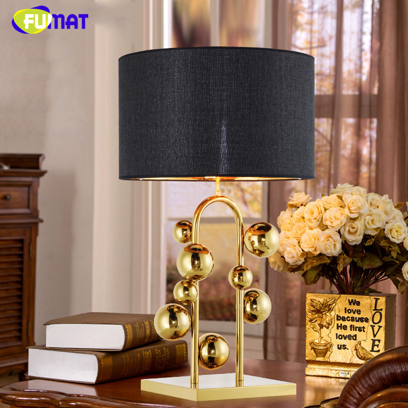 FUMAT Gold Balls Table Lamp Modern Creative Art Fabric