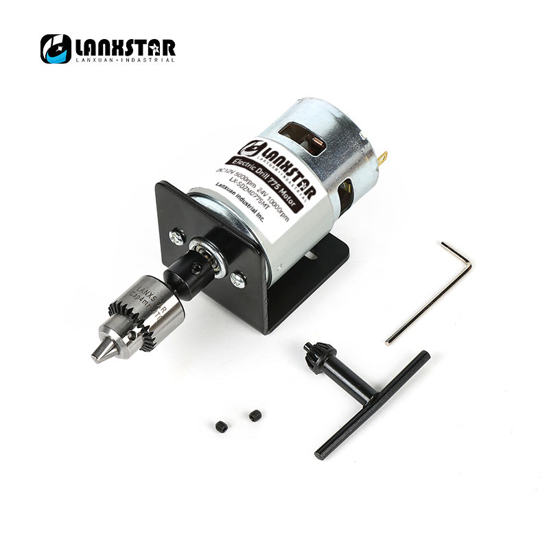 New DC 24V 10000rpm 775 Motor Double Ball Bearings Mini PCB Hand Drill Press Drill Chuck 0.3~4mm JTO Miniature Electric Drill