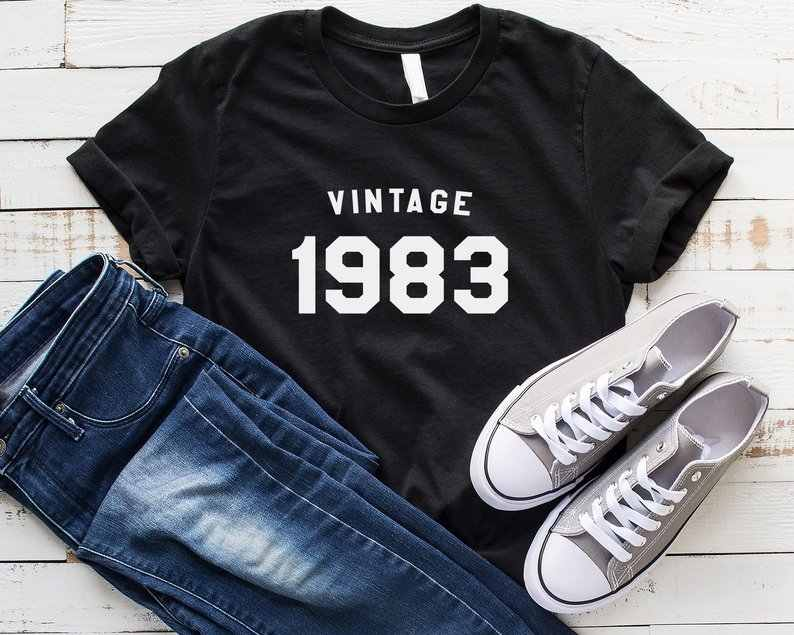 Skuggnas New Arrival vintage 1983 shirt birth year t-shirt 36th birthday shirt tshirt gift womens graphic tees drop shipping