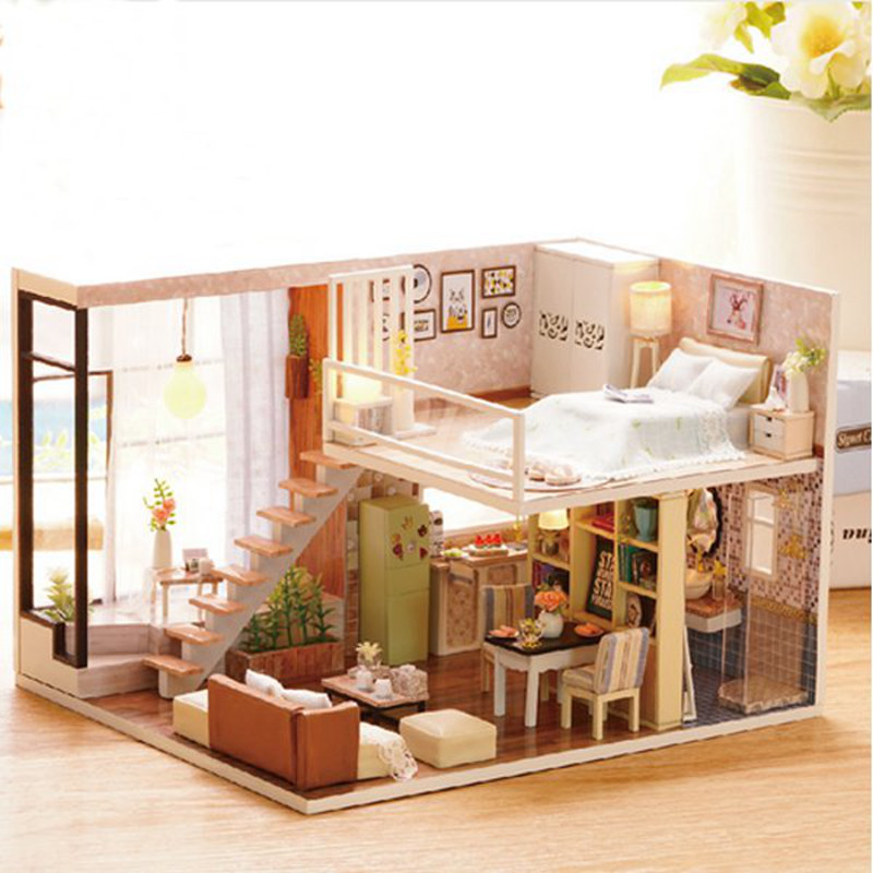 Cuteroom Doll House Miniature DIY Dollhouse With Furnitures Wooden House Waiting Time Toys For Children Gift cuteroom diy model dollhouse miniature voice activated led light box theatre gift for birthday valen
