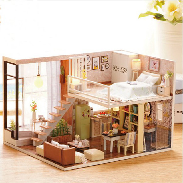 Attractive Cuteroom Doll House Miniature DIY Dollhouse With Furnitures Wooden House  Waiting Time Toys For Children Gift