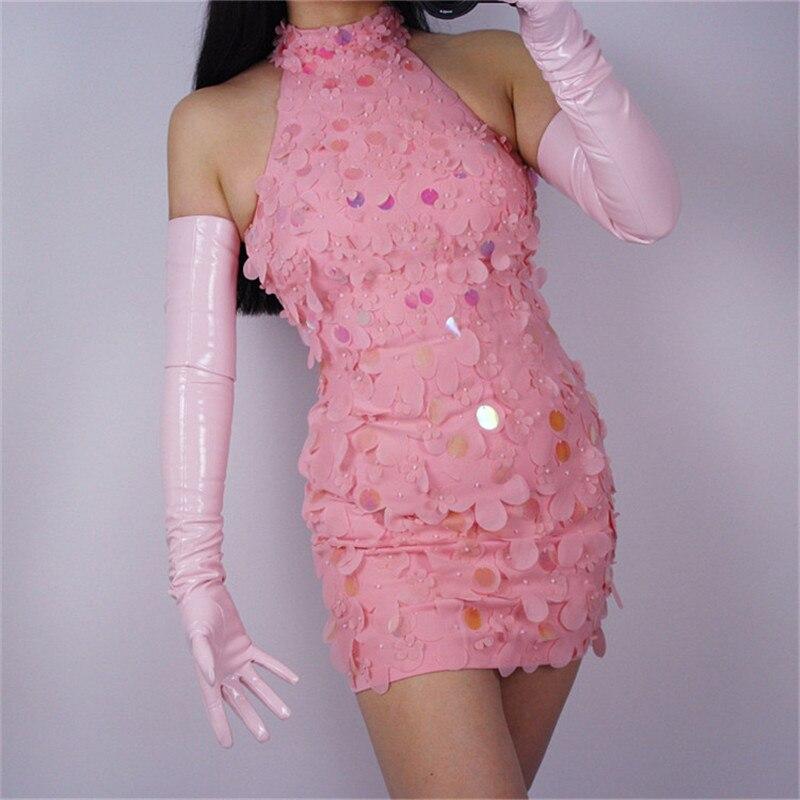 70cm Extra Long Leather Gloves Opera Emulation Leather Sheepskin PU Gloves Female Light Pink Cherry Blossom Pink WPU15-70