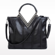 New Design V Shape Handbags Diamond Fashion Handbag Knitted Casual Messenger Bag Shoulder Strap Book Bag 2016