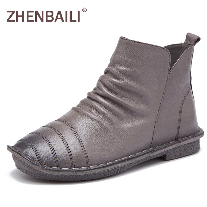 ZHENBAILI Women Boots 2017 Spring Autumn Fashion Genuine Leather Zipper Ankle Boots Pleated Soft High TOP Casual Flat Shoes new arrival girl full leather boots spring autumn casual snow high top genuine leather boots women shoes a443