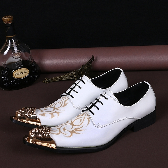 d068e923331e4c Full Grain Leather Wedding Shoes Men Formal Shoes Metal Pointed Toe Mens  Dress Shoes Lace Up Oxford Shoes For Men White Oxfords