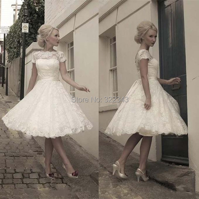 2015 Petite Lace White Ball Gown Simple Short Sleeve Party Dress