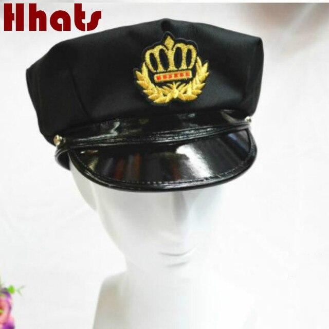 women men black patchwork cotton PU badge military cap vintage police hat  adjustable sailor hat retro e1fabd04069