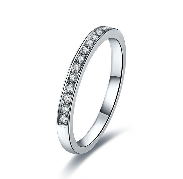 Lovely Band Ring 585 White Gold Breathtaking Quality Synthetic Diamonds Engagement High Guarantee