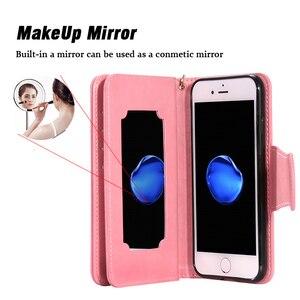 Image 3 - Luxury Leather Wallet Flip Phone Case for iphone 6 s 6s 7 8 Plus 6Plus 7Plus 8Plus X XS 5 5s SE 2020 Cover Makeup Mirror Casing