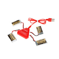 4pcs 400mAh 3.7V 25C LiPo Battery with 4in 1 USB Charger for Holy Stone HS170 Hubsan H107C H107D Syma X11 X11C RC Drone