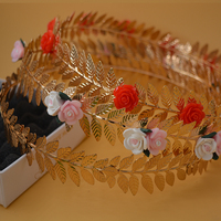 3Color Gold Pearl Jewelry Wedding Headband Baroque Hair Jewelry Bridal Hair Accessories Gold Leaves Red Pink