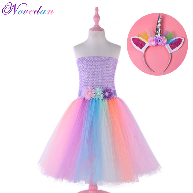 Rainbow Girls Unicorn Dress Kids Party Princess Dress Cinderella Elsa Carnival Costume Wedding Cosplay Costume Moana Dresses