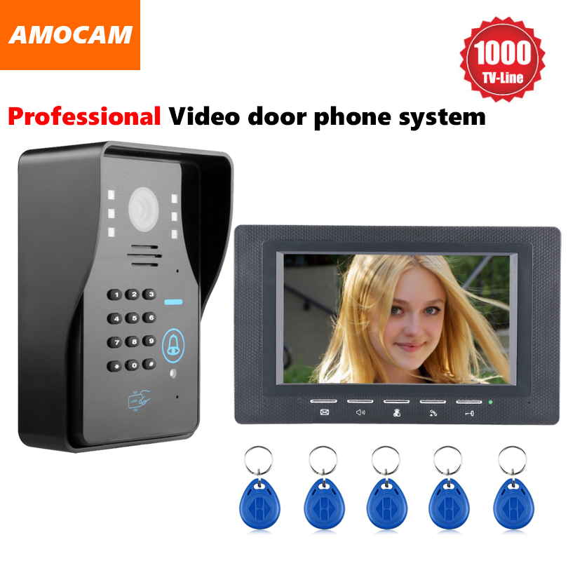 1000TVL IR Door Camera Video door phone System Video Intercom Doorbell kit support Password / Rfid Keyfobs Card Unlock1000TVL IR Door Camera Video door phone System Video Intercom Doorbell kit support Password / Rfid Keyfobs Card Unlock
