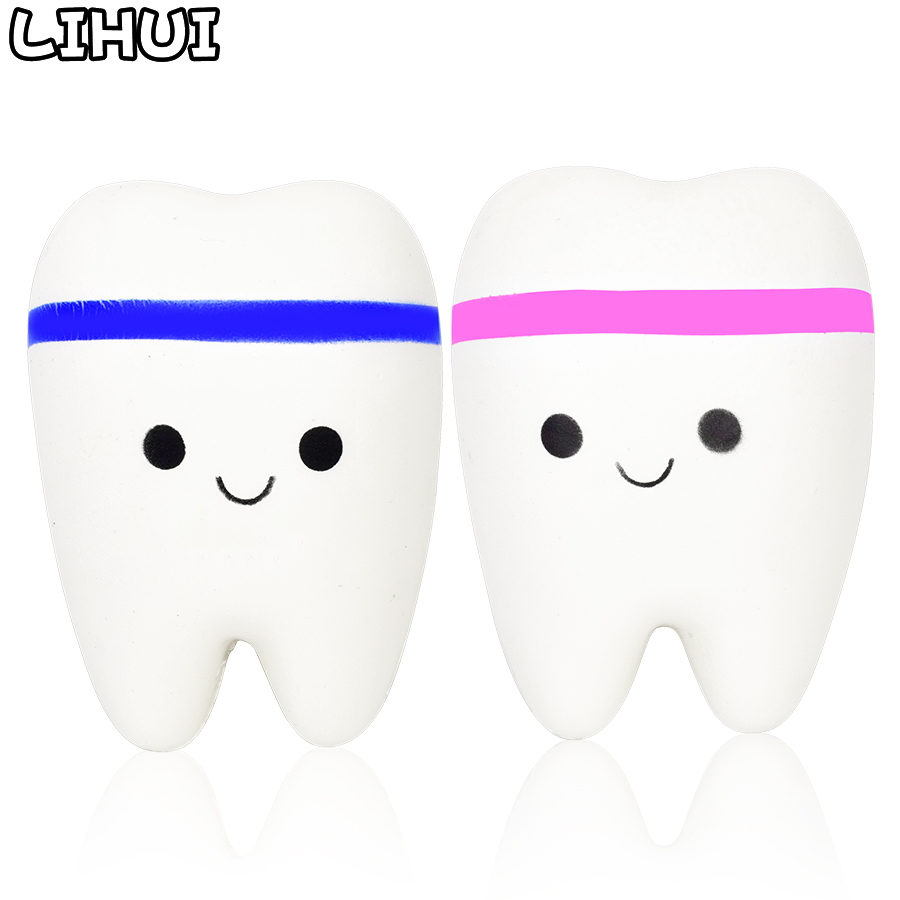 Teeth Kawaii Squishy Toys for Children Funny Slow Rising Soft Squeeze Squishi Anti Stress Toy Cute Stretchy Squishies Toy Gift besegad kawaii squishy fun simulation cat coffee cup toy slow rising squeeze toys for children kid adult relieves stress anxiety