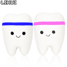 Teeth Kawaii Squishy Toys for Children Funny Slow Rising Soft Squeeze Squishi Anti Stress Toy Cute Stretchy Squishies Toy Gift(China)