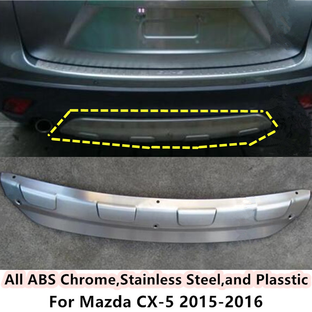 Free shipping For Mazda CX-5 CX5 2015 2016 Car body cover protection Bumper ABS Chrome trim rear back tail bottom hoods 1pcs  high quality car styling cover detector abs chromium tail back rear license frame plate trim strips 1pcs for su6aru outback 2015