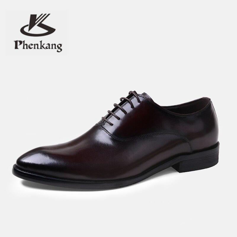 Phenkang hommes chaussures formelles en cuir véritable oxford chaussures pour hommes italien 2019 chaussures habillées chaussures de mariage lacets en cuir richelieu - 4