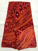 Silk Velvet Fabric In Coral Red 5yards Pcs With Twills Design For Sewing Dubai Velvet Party