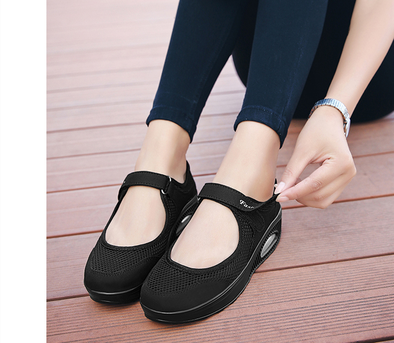 STS Brand 2019 New Fashion Women Sneakers Casual Air Cushion Hook & Loop Loafers Flat Shoes Women Breathable Mesh Mother`s Shoes (11)
