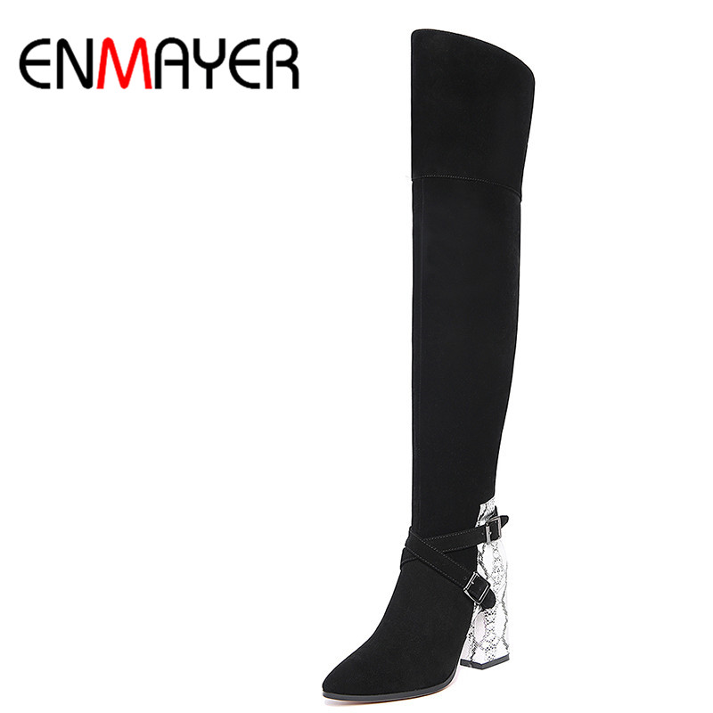 ENMAYER Fashion Over-knee High Boots Women Bukle High Heels Long Boots Sexy Pointed Toe Slip-on Boots Leather Winter Shoes enmayer women boots shoes new pointed toe fashion knee high full grain leather winter long boots for women platform motorcycle