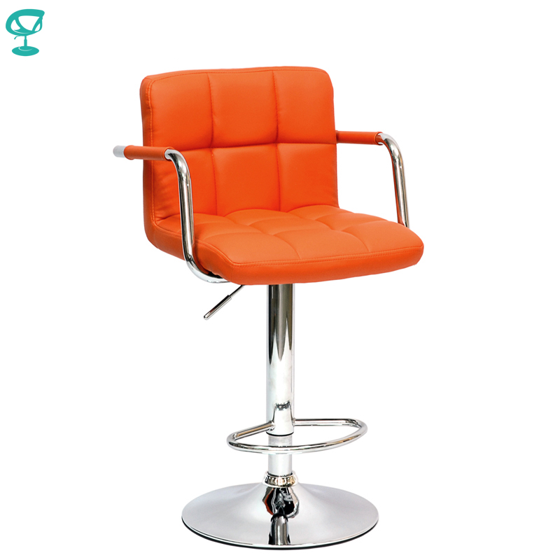 94497 Barneo N-69 Leather Kitchen Breakfast Bar Stool Swivel Bar Chair Orange Color Free Shipping In Russia