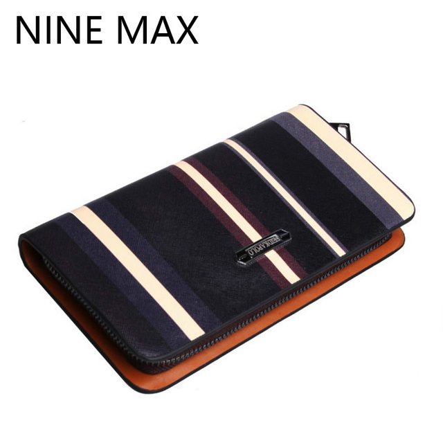 Feidika Polo High Quality Luxury Stripes Men Wallet Large Capacity Card Holder Multiple Utility Bifold Zipper Male Long Purse