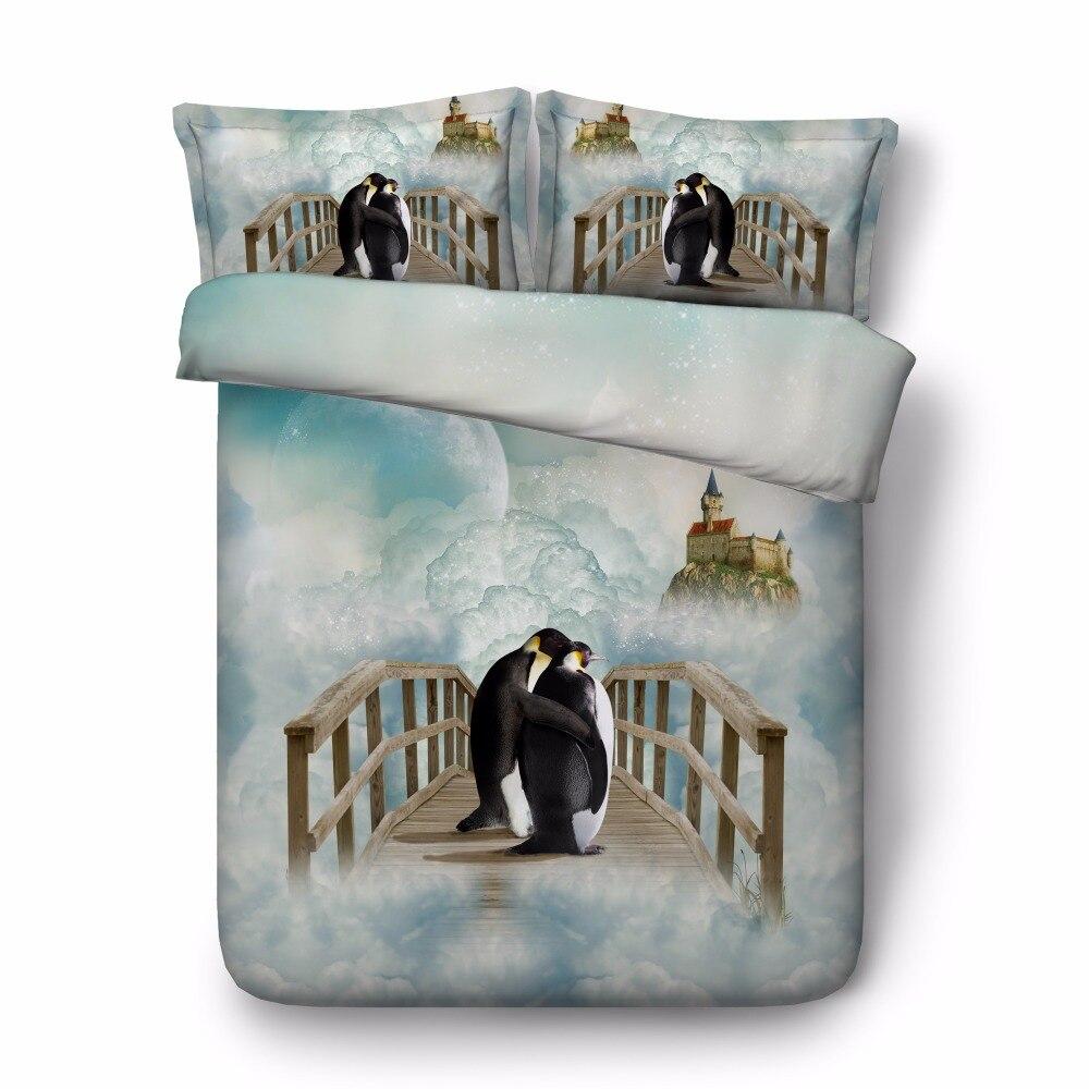 Envío Gratis 3d animal pingüino ganso pato 1 edredón y 2 fundas de almohada twin/full/queen/king /juego de cama tamaño super king