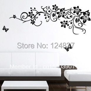 60 90cm Flower Stickers Butterfly Wall Wallpaper Poster