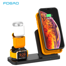 FDGAO 10W Fast Qi Wireless Charger Stand For iPhone XS Max XR X 8 Samsung S9 S8 S7 Apple Watch 4 3 2 Airpods Quick Charging Dock