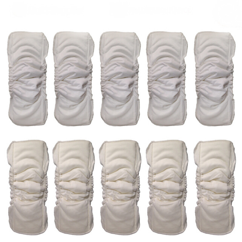 1PC Waterproof Organic Bamboo Cotton Wrap Insert 5 Layers Reusable Washable Inserts Boosters Liners For Baby Diaper Cover