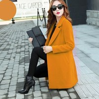 4XL Autumn Winter Elegant Office Lady Slim Long Wool Coats Causal Woolens Blends Overcoat Turn down Collar Solid Coat Plus Size