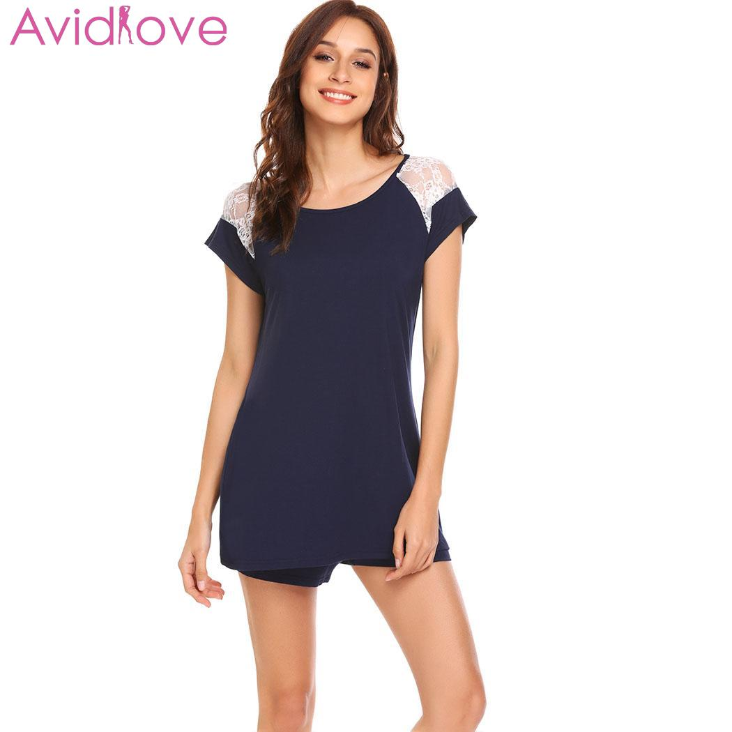 18a207ad2ad15 Detail Feedback Questions about Avidlove Cotton Nightwear Set Pyjama Femme  O Neck Sleeve Shorts Lace Set T Shirt Sleepwear Short Pajama Home Clothes  for ...