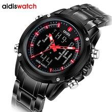 Kol saati montres de sport pour hommes de marque de luxe, numérique à Quartz, entièrement en acier inoxydable, horloge LED étanche