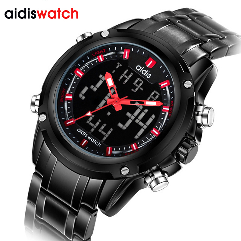 Luxury Brand Men Sports Watches waterproof LED Digital Quartz Full Stainless Steel Military Male Watch for men Clock kol saati tvg male sports watch men full stainless steel waterproof quartz watch digital analog dual display men s led military watches