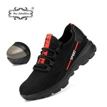 New exhibition safety shoes 2019 fashion Lightweight Breathable Men Steel Toe Anti-smashing Construction protection Work Sneaker 2019 fashion breathable lace up anti smashing construction sneaker boots exhibition men outdoor steel toe work safety shoes