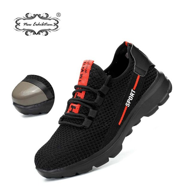 Yeni sergi güvenlik ayakkabıları 2019 moda Hafif Nefes Erkekler Çelik Ayak Anti-smashing Inşaat koruma Çalışma Sneaker