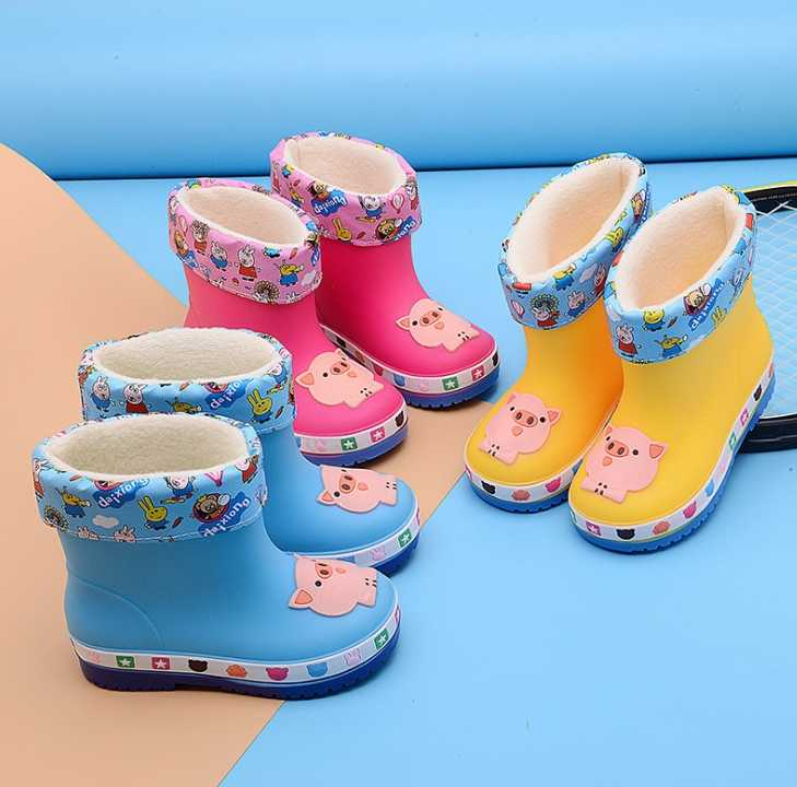 MXHY çocuk botları Yeni Moda çocuk ayakkabıları PVC Kauçuk Çocuklar Bebek Karikatür Ayakkabı çocuk su ayakkabısı Su Geçirmez yağmur çizmeleri