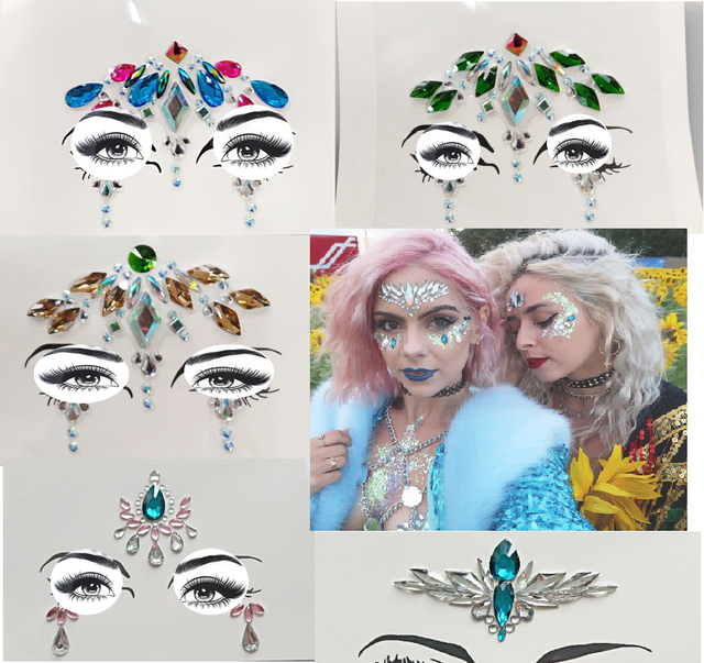 style Adhesive Face Gems Rhinestone Temporary Tattoo Jewels Festival Party  Body Glitter Stickers Flash Temporary Tattoos 3e4db0a873c8