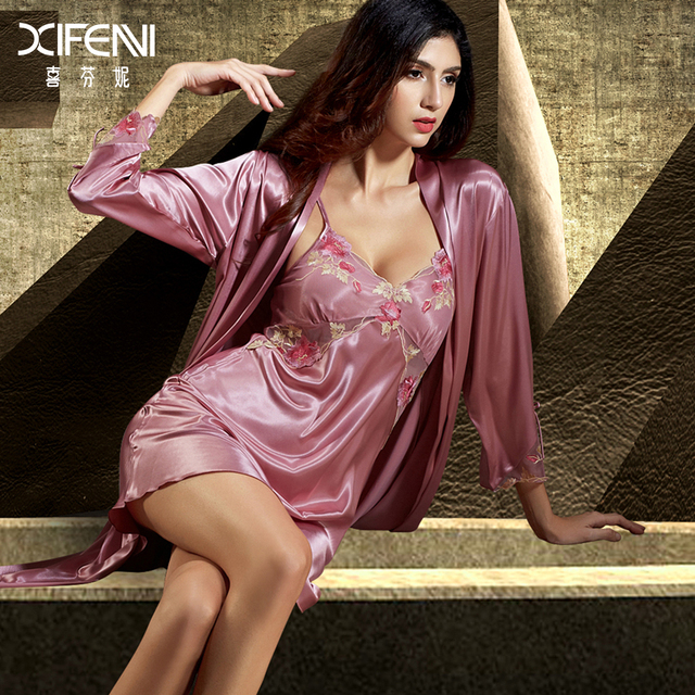 XIFENNI Silk Robe Sets Female Imitation Silk Bathrobes Long-Sleeved Embroidery Nightgowns Two-Piece Lace Nightdress 6623